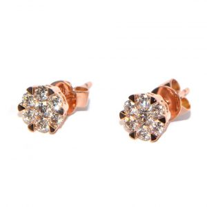 Diamant Ohrstecker Rosegold Illusion mittel