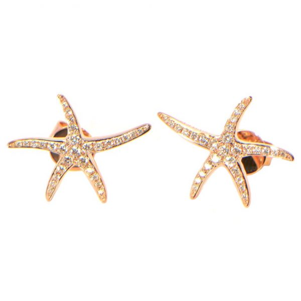 Diamant Ohrstecker Roségold Seesterne gross 18K