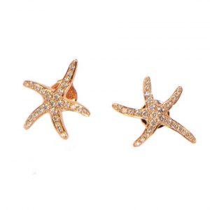 Diamant Ohrstecker Rosegold Seesterne klein