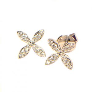 Diamant Ohrstecker Weissgold Blume