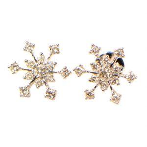 Diamant Ohrstecker Weissgold Schneeflocken 18K