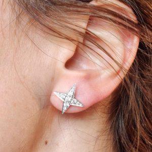 Diamant Ohrstecker Weissgold Sterne 18 Karat