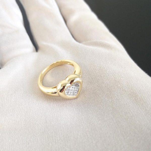Diamantring Princess Schliff Gelbgold Herz