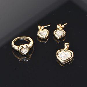 Gelbgold Anhänger Ring Ohrstecker Princess Diamanten Herz