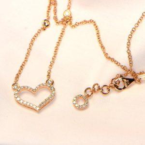 Herz Collier Rosegold Diamanten 18K