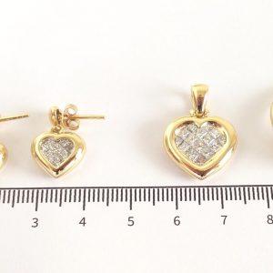 Schmuckset Gelbgold Verlobung Herz Diamanten Princess Schliff