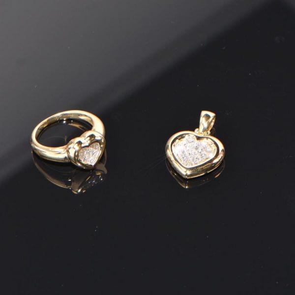 Schmuckset Ring Anhänger Gelbgold Herz Princess Diamant