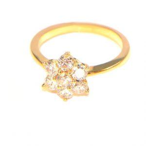 Diamantring 1 ct Karat Gelbgold 18K Blüte