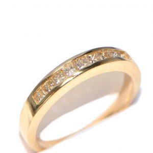 Diamantring 14K Gelbgold R10 Memory Princess