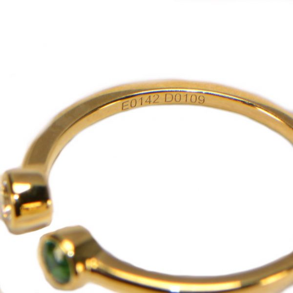 Diamantring Gelbgold Emerald Smaragd zwei Köpfe