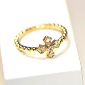 Diamantring Kreuz Gelbgold