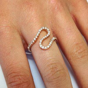 Diamantring Rosegold Schlange