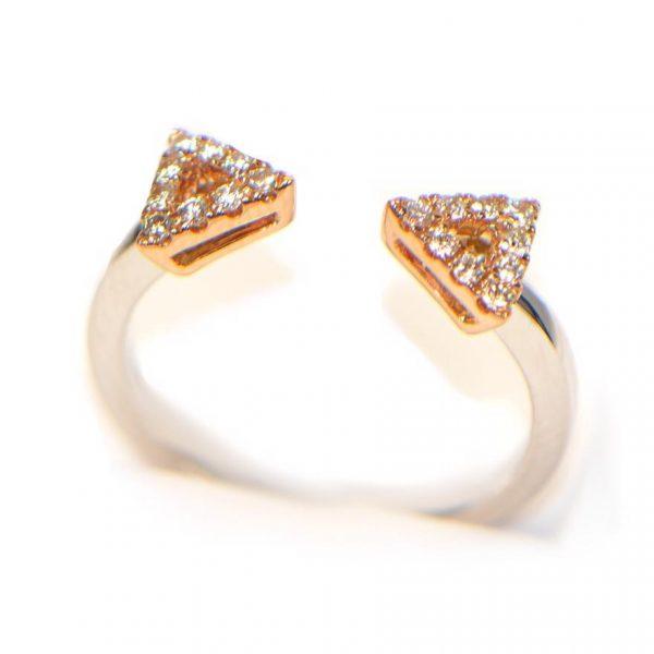 Diamantring bicolor zwei Köpfe Rosegold Weissgold