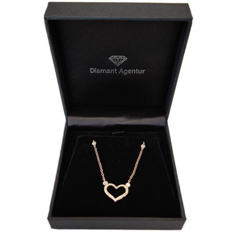 Diamant Anhänger Collier Etui Schmuckschachtel