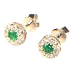 Diamant Ohrstecker Smaragd Emerald grün 18K 0,37 ct. Brillant