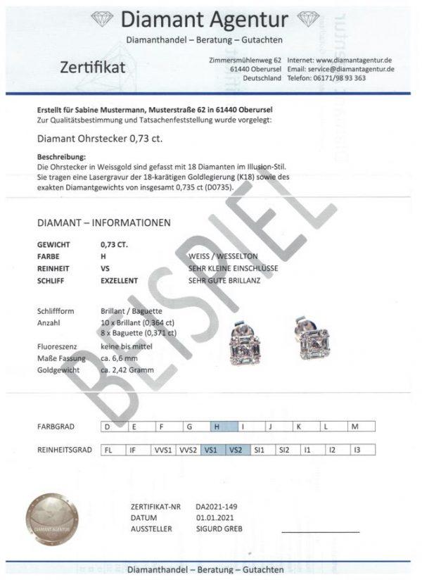 Diamant Schmuck Zertifikat Expertise Gutachen Muster4