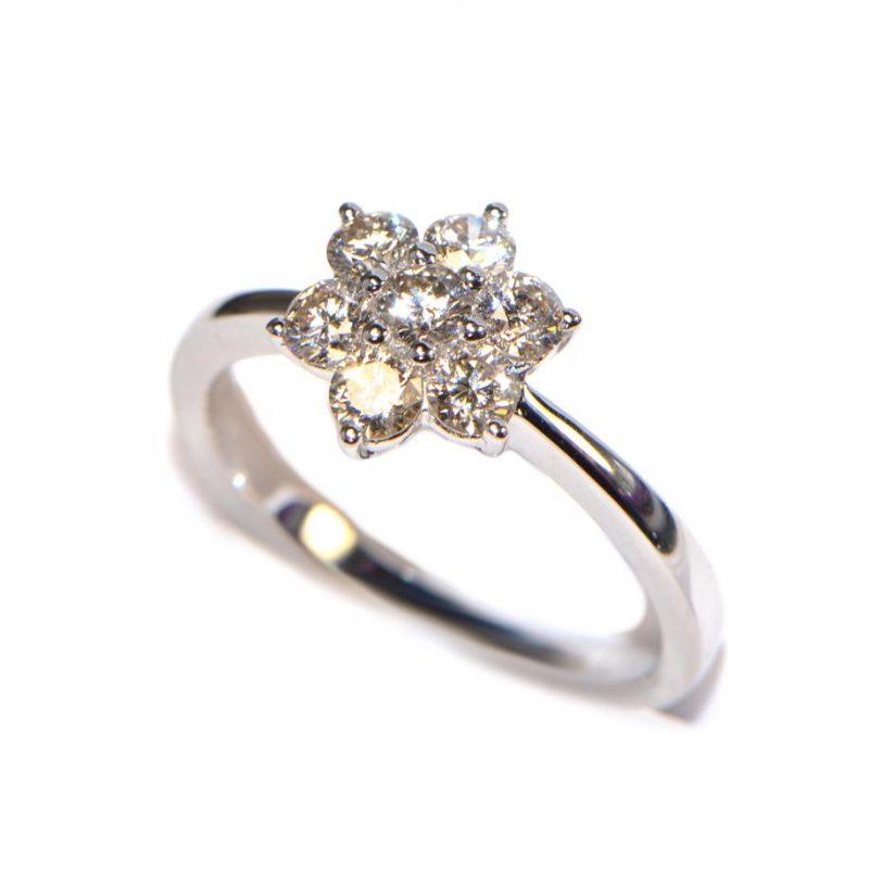 Über Diamanten Diamantring Weissgold Blüte Brillantring 0,79 ct.