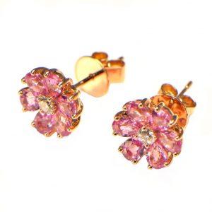 Ohrstecker Rosegold pink rosa Saphir Safir Diamant 18K